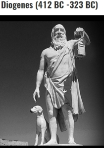 Diogenes with his lantern and faithful dog